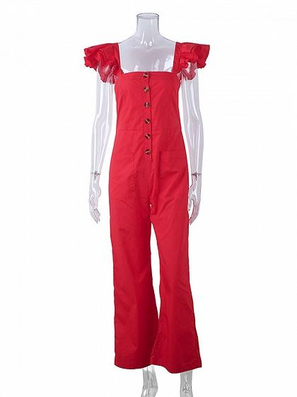 Red Cotton Button Placket Front Sleeveless Chic Women Jumpsuit