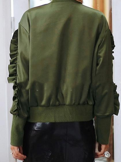 Dark Green Satin Look Frill Trim Long Sleeve Chic Women Jacket