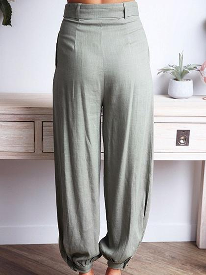Green Cotton High Waist Chic Women Pants