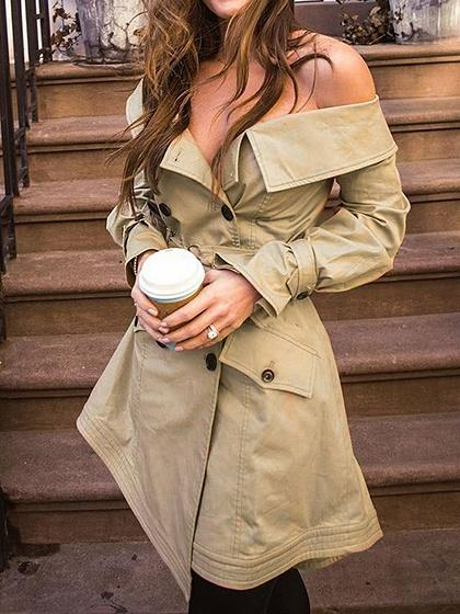Khaki Cotton Blend Off Shoulder Long Sleeve Chic Women Coat