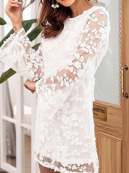White Flower Embroidery Flare Sleeve Chic Women Lace Mini Dress