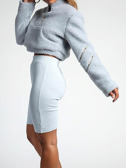 Blue High Neck Long Sleeve Chic Women Faux Shearling Crop Sweatshirt