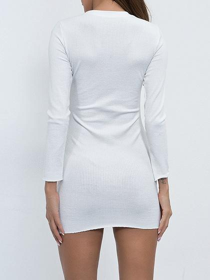 White Long Sleeve Chic Women Knit Bodycon Mini Dress