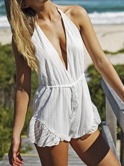 White Halter Plunge Open Back Chic Women Romper Playsuit