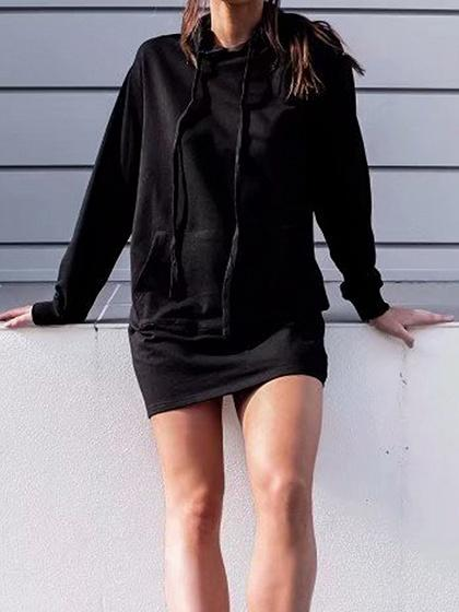 Black Pouch Pocket Front Long Sleeve Chic Women Hoodie