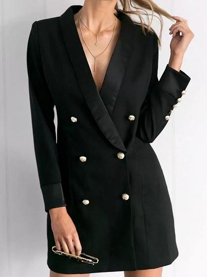 Black Lapel V-neck Double Breasted Front Long Sleeve Chic Women Blazer