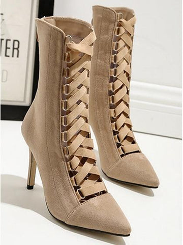 Beige Lace Up Front Pointed Toe Chic Women Velvet Ankle Heeled Boots