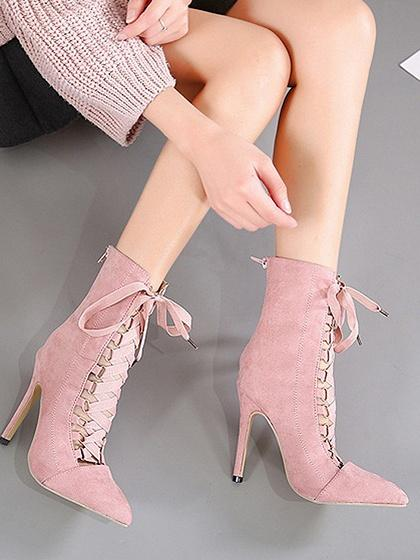 Pink Lace Up Front Pointed Toe Chic Women Velvet Ankle Heeled Boots