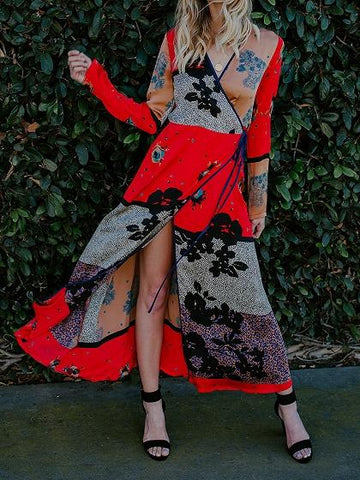 Red Chiffon V-neck Floral Print Long Sleeve Chic Women Maxi Dress
