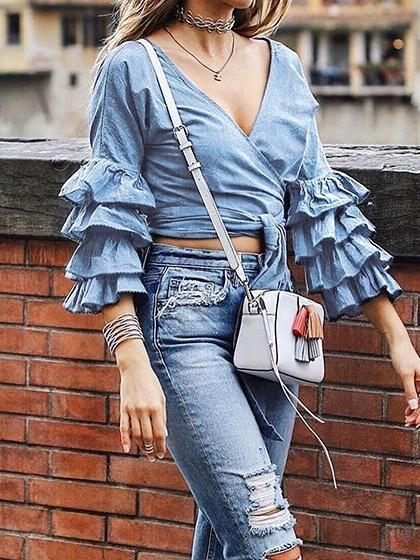 Blue V-neck Tie Waist Layered Flare Sleeve Chic Women Crop Blouse