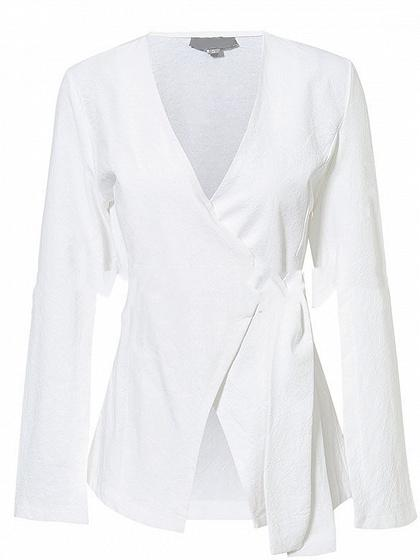 White Cotton Plunge Tie Waist Flare Sleeve Chic Women Coat