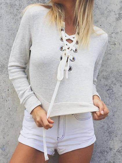 Gray Cotton V-neck Eyelet Lace Up Long Sleeve Chic Women Crop Top