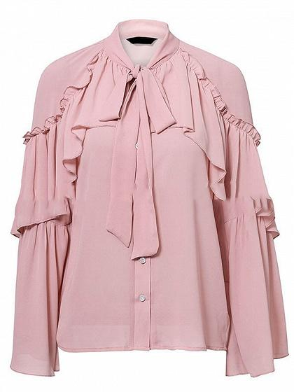 Pink Chiffon Tie Front Ruffle Trim Long Sleeve Chic Women Blouse