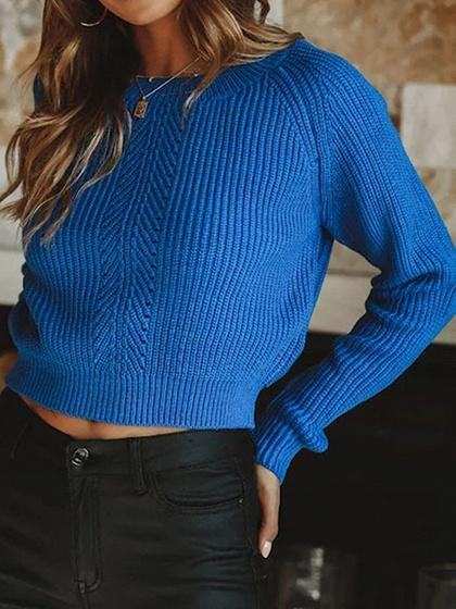 Blue Long Sleeve Chic Women Knit Crop Sweater