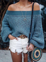 Blue Off Shoulder Puff Sleeve Chic Women Knit Sweater