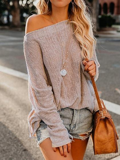Beige Asymmetric Neck Long Sleeve Chic Women Knit Sweater