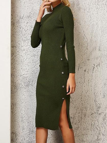 Green Split Side Long Sleeve Chic Women Knit Bodycon Dress