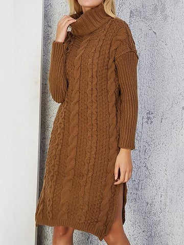 Camel Brown High Neck Long Sleeve Chic Women Knit Mini Dress