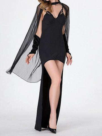 Black V-neck Chic Women Halloween Cosplay Hi-Lo Party Dress