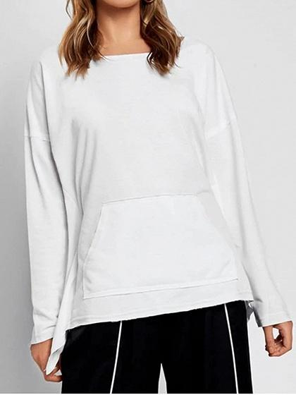 White Cotton Pouch Pocket Tie Back Long Sleeve Chic Women Sweatshirt