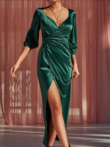 Green Satin Look V-neck Thigh Split Chic Women Maxi Dress