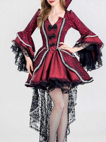 Burgundy Cotton Blend V-neck Chic Women Halloween Cosplay Party Dress
