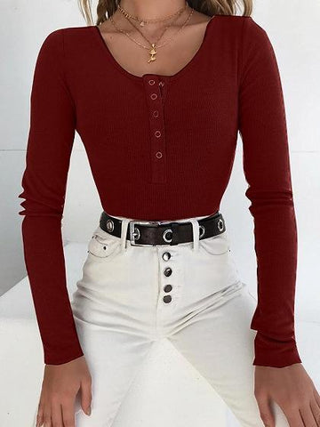 Burgundy Ribbed Button Placket Front Long Sleeve Chic Women Bodysuit