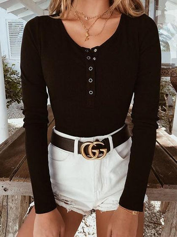 Black Ribbed Button Placket Front Long Sleeve Chic Women Bodysuit