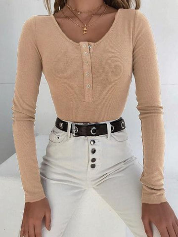 Khaki Ribbed Button Placket Front Long Sleeve Chic Women Bodysuit