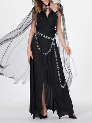 Black Halloween Vampire Cosplay Hooded Cape Open Back Maxi Dress