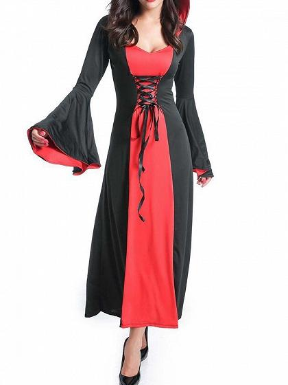 Red Contrast Halloween Vampire Cosplay Flare Sleeve Hooded Maxi Dress