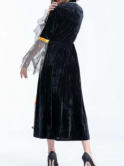 Orange Contrast Velvet Halloween Witch Cosplay Flare Sleeve Maxi Dress