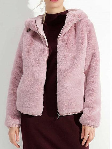Pink Long Sleeve Chic Women Fluffy Hooded Coat