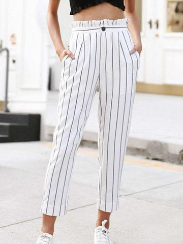 White Stripe High Waist Frill Trim Chic Women Pants