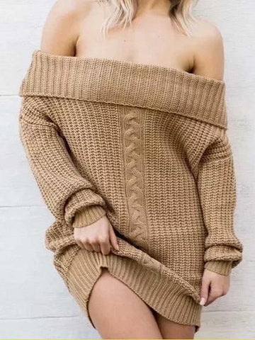 Khaki Off Shoulder Long Sleeve Chic Women Knit Sweater