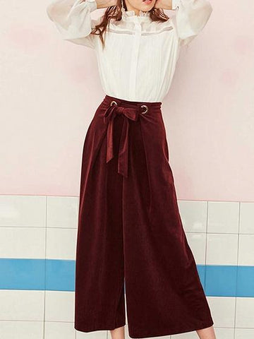 Burgundy High Waist Eyelet Tie Waist Wide Leg Pants