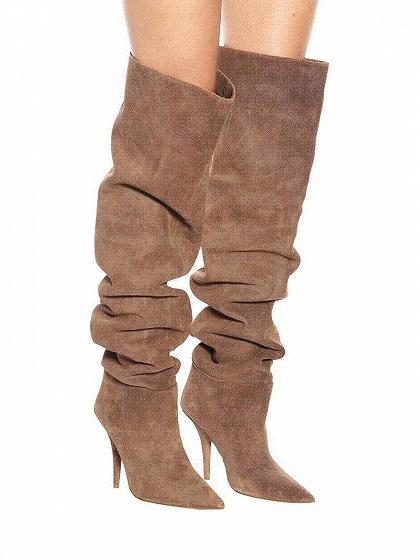 15ce7cf8c29dd Khaki Faux Suede Pointed Toe High Heeled Over The Knee Boots ...