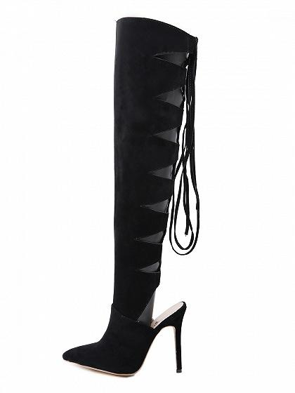 d6a090bab776c ... Black Velvet Lace Up Back Pointed Toe High Heeled Over The Knee Boots  ...