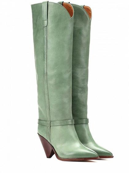 41bcd4193cf4 Green Leather Pointed Heeled Over the Knee Boots – chiclookcloset