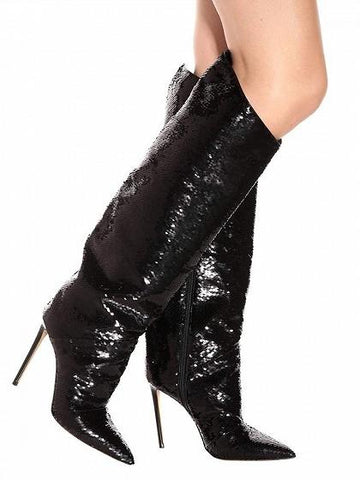Black Leather Pointed Toe High Heeled Over the Knee Boots
