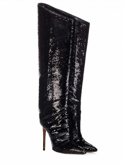 9f7629eeed237 ... Black Leather Pointed Toe High Heeled Over the Knee Boots ...