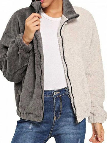 Gray Contrast Lapel Long Sleeve Chic Women Fluffy Coat