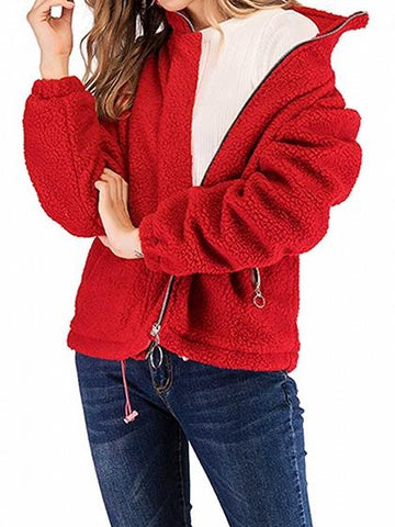Red Stand Collar Pocket Detail Long Sleeve Fluffy Coat