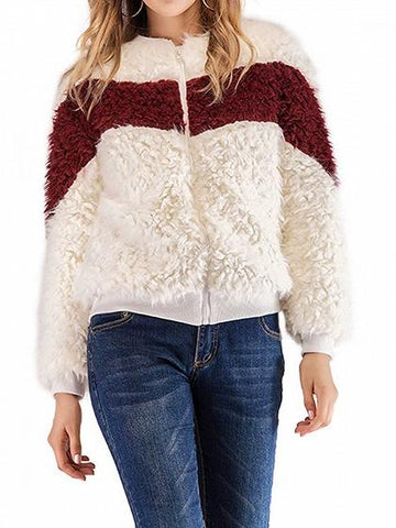 Red Contrast Long Sleeve Chic Women Fluffy Coat