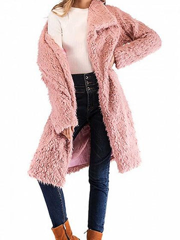 Pink Lapel Long Sleeve Chic Women Fluffy Faux Wool Blend Coat