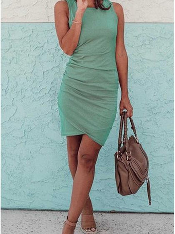 Green Cotton Drawstring Side Sleeveless Chic Women Bodycon Mini Dress