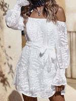 White Off Shoulder Tie Waist Puff Sleeve Chic Women Lace Mini Dress