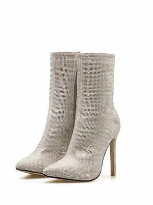 Beige Velvet Sequin Detail Pointed Toe High Heeled Ankle Boots