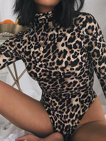 Brown Cotton High Neck Leopard Print Long Sleeve Bodysuit