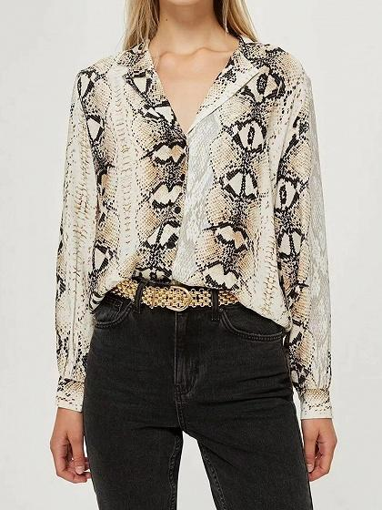 Gray Cotton V-neck Snakeskin Print Long Sleeve Shirt